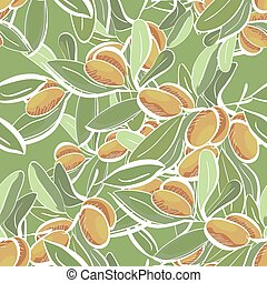 Seamless flat pattern with doodle olive