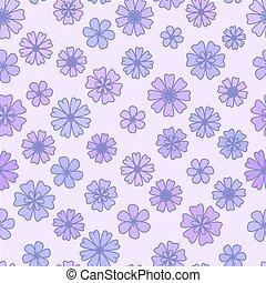 Seamless flat violet Flower Background, vector floral wallpaper