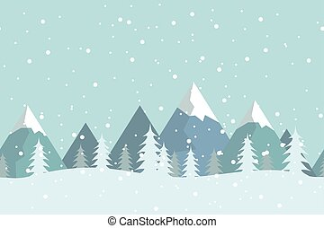 Seamless flat winter vector landscape with silhouettes of trees and mountains.
