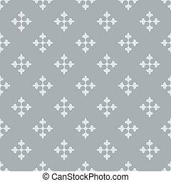 Seamless fleur de lis crosses grey vector background.