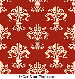 Seamless fleur-de-lis pattern on red background