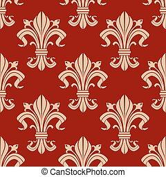 Seamless fleur-de-lis pattern on red background