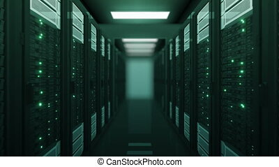 Seamless Flight Through the Server Racks Green Color in Data Center DOF Blur. Beautiful Looped 3d Animation with Flickering Computer Lights. Modern Electronics Technology Concept. 4k UHD 3840x2160.