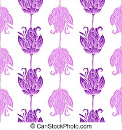 Seamless floral abstract pattern. Colorful print composed of pink and purple flowers on white background.