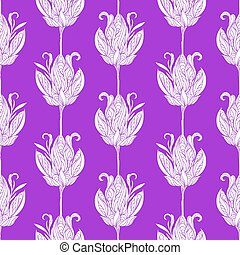 Seamless floral abstract pattern. Colorful print composed of white line flowers on purple background.