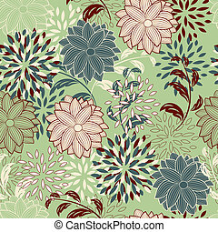 seamless, floral, achtergrond
