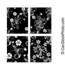 seamless, floral, arrière-plans, ensemble
