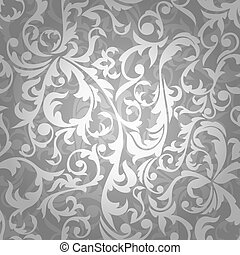 seamless floral background - abstract seamless silver floral...