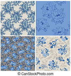 Seamless Floral Background Beautiful Set - for your design and scrapbook in vector