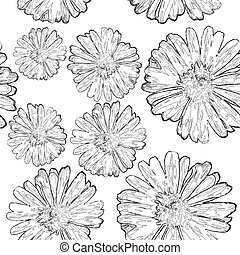 Seamless floral background black and white