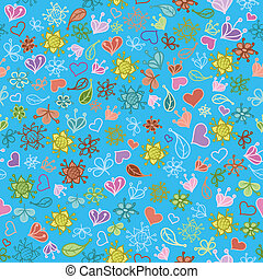 Seamless floral background, colorful symbolical contours and...