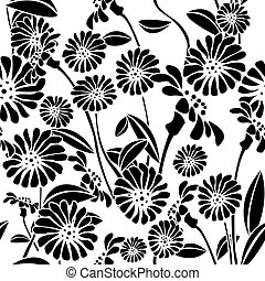 Seamless floral background, graphic pattern - Decorative...