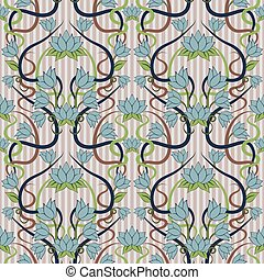Seamless floral background in art nouveau style, vector illustration