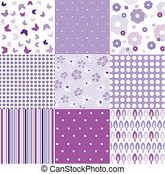 Seamless floral background set - Seamless vintage floral...