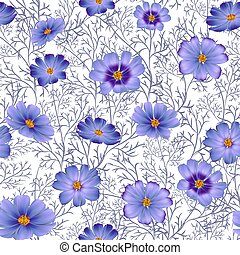 Seamless floral background with beautiful blue wild flowers