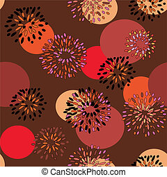 Seamless floral background with bright circles