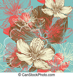 Seamless floral background with flowers apple, hand drawing,...