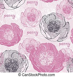 Seamless floral background with flowers of peony and handwritten text