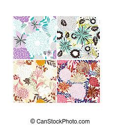 seamless floral backgrounds set