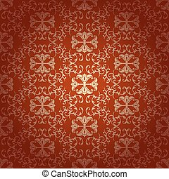 Seamless floral baroque red background