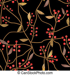 Seamless floral berry pattern on black background