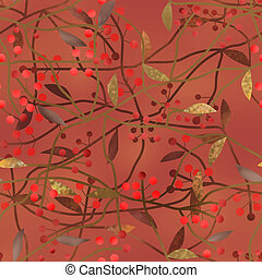 Seamless floral berry pattern on brown background