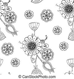 Seamless floral black and white pattern. page coloring for adults