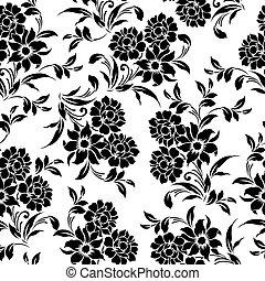 seamless floral black white pattern