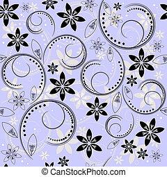 Seamless floral blue-black-white pattern