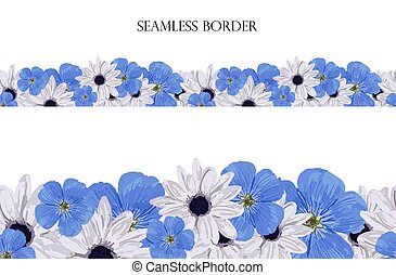 Seamless floral border with bright spring flowers. Border for the design of textiles, cards, advertising. Isolated on a white..