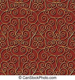 seamless floral dark red damask pattern background