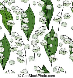 Seamless floral decorative pattern with lilies of the valley. Endless texture for your design, fabrics, decor.