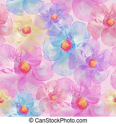 Seamless floral design  for background, Endless pattern.Watercolor illustration.