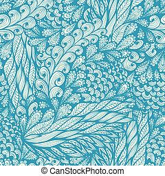 seamless, floral, doodle, padrão