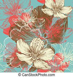 seamless, floral, fundo, com, flo