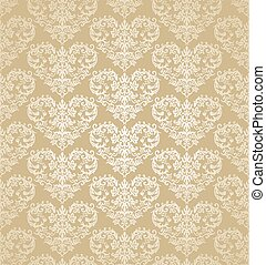 Seamless floral gold heart shapes damask wallpaper -...
