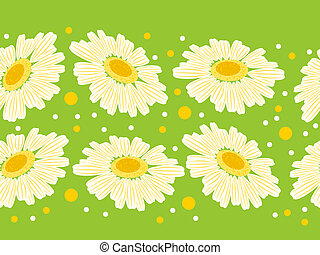 Seamless floral green border with white daisy