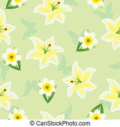 Seamless floral green pattern