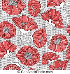 seamless, floral, klaproos, model
