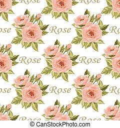 seamless, floral model, met, rozen