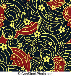 Seamless floral night pattern - Seamless floral kimono...