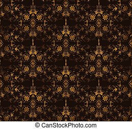Seamless floral on a brown background. Vector