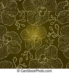 """Seamless floral orchid pattern (from my big \""""Flower-set..."""