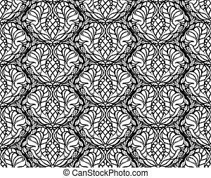 Vector black and white decorative seamless floral ornament