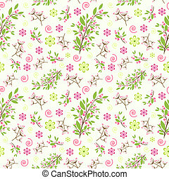 Seamless floral ornament with simple abstract flowers