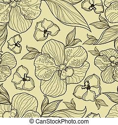 seamless, floral, orquídea, patrón