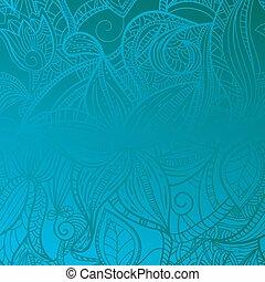 seamless, floral, ouderwetse , achtergrond, op, blauwe