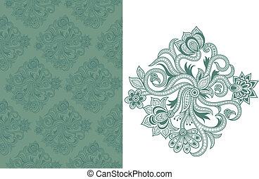 seamless, floral példa, c-hang