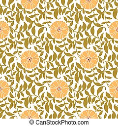A hand-drawn seamless pattern of flowers and leaves. Each color can be easily edited.