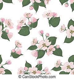 Seamless floral pattern, apple tree flowers